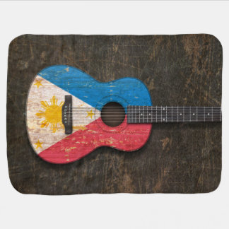 Scratched and Worn Filipino Flag Acoustic Guitar Stroller Blanket