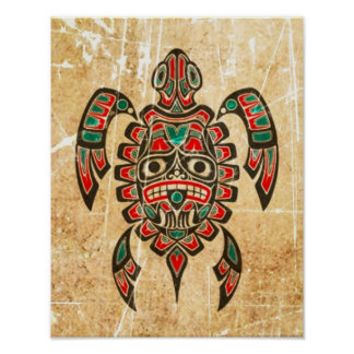 Scratched and Worn Haida Spirit Sea Turtle Poster