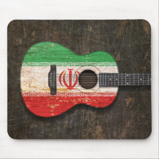 Scratched and Worn Iranian Flag Acoustic Guitar Mousepad
