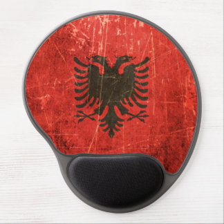 Scratched and Worn Vintage Albanian Flag Gel Mouse Pad