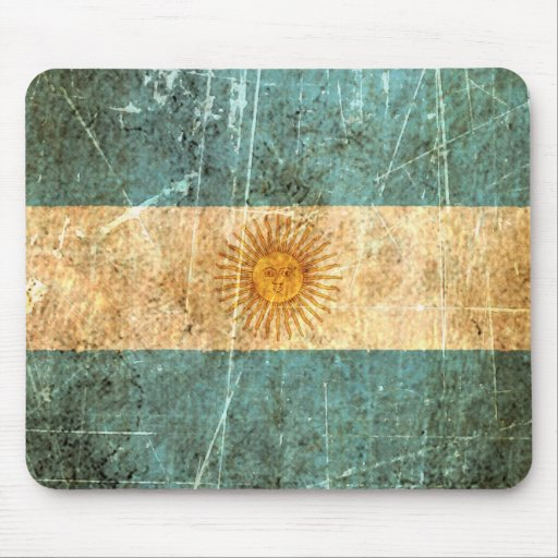 Scratched and Worn Vintage Argentinian Flag Mousepads