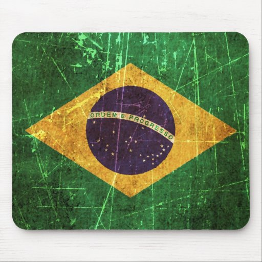 Scratched and Worn Vintage Brazilian Flag Mouse Pads
