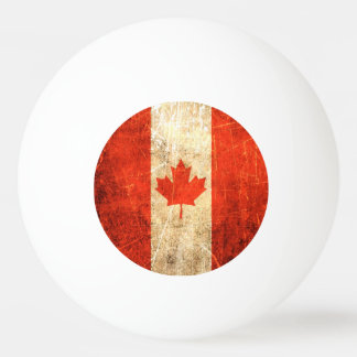 Scratched and Worn Vintage Canadian Flag Ping-Pong Ball