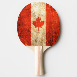 Scratched and Worn Vintage Canadian Flag Ping Pong Paddle