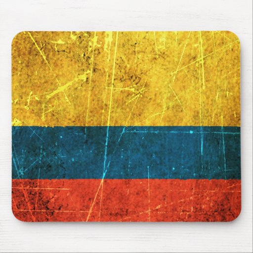 Scratched and Worn Vintage Colombian Flag Mousepads