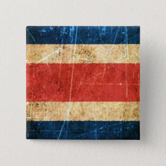 Scratched and Worn Vintage Costa Rica Flag 2 Inch Square Button