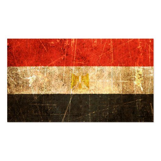 Scratched and Worn Vintage Egyptian Flag Business Cards