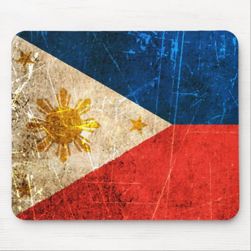 Scratched and Worn Vintage Filipino Flag Mouse Pad