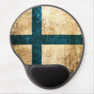 Scratched and Worn Vintage Finnish Flag Gel Mouse Pad
