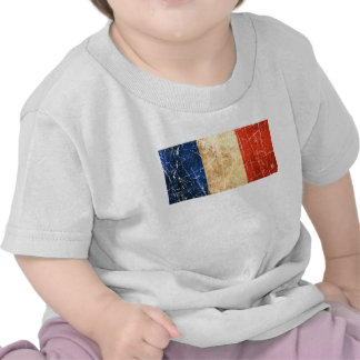 Scratched and Worn Vintage French Flag T Shirt