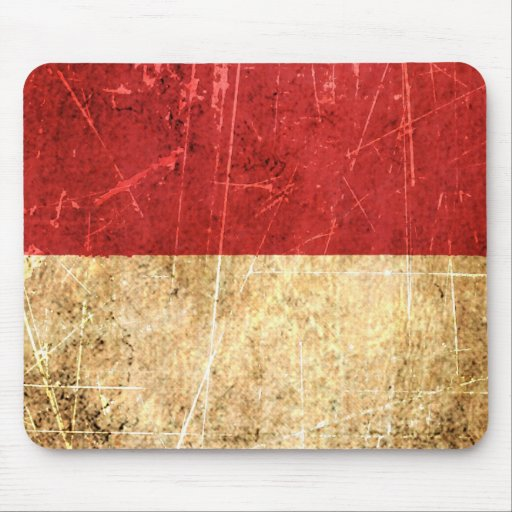Scratched and Worn Vintage Indonesian Flag Mousepad