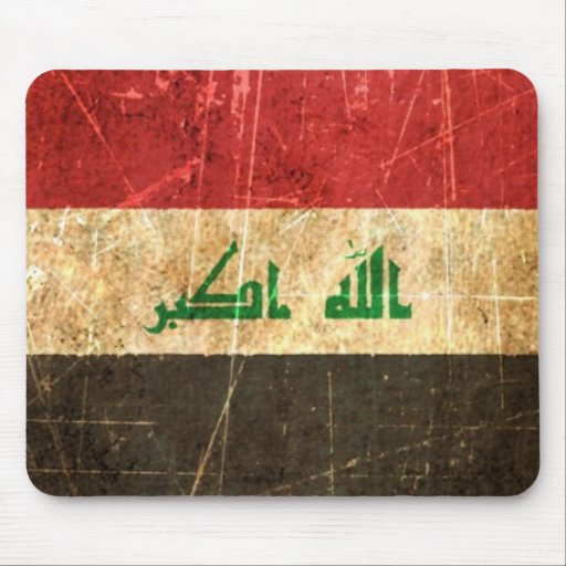 Scratched and Worn Vintage Iraqi Flag Mouse Pads