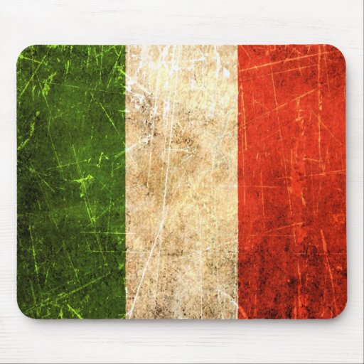 Scratched and Worn Vintage Italian Flag Mousepads