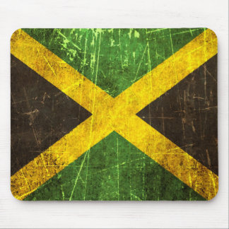 Scratched and Worn Vintage Jamaican Flag Mouse Pad