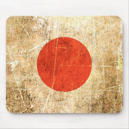 Scratched and Worn Vintage Japanese Flag Mousepads