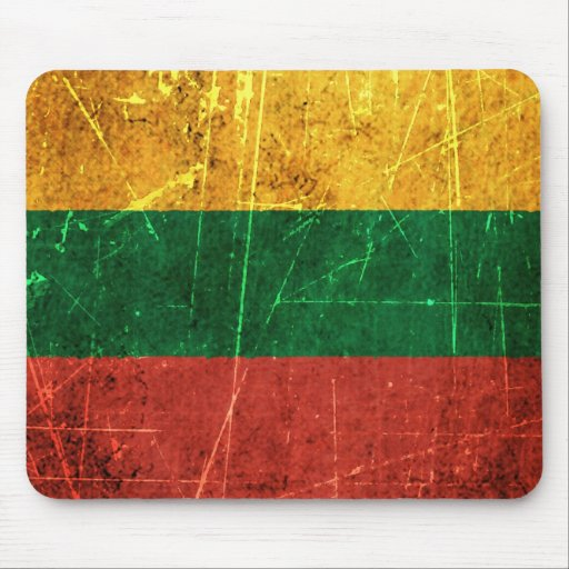 Scratched and Worn Vintage Lithuanian Flag Mousepad