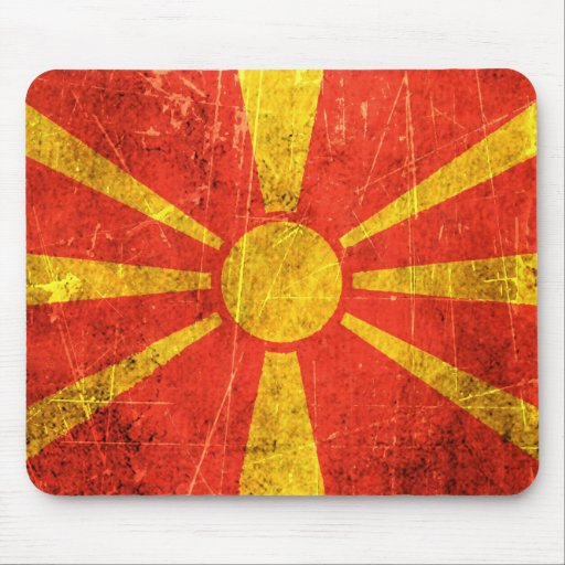 Scratched and Worn Vintage Macedonian Flag Mouse Pad