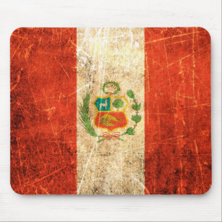 Scratched and Worn Vintage Peruvian Flag Mouse Pad