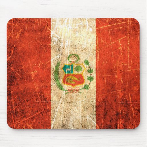 Scratched and Worn Vintage Peruvian Flag Mousepads