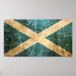 Scratched and Worn Vintage Scottish Flag Poster