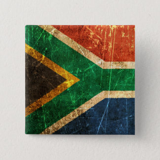 Scratched and Worn Vintage South African Flag 2 Inch Square Button