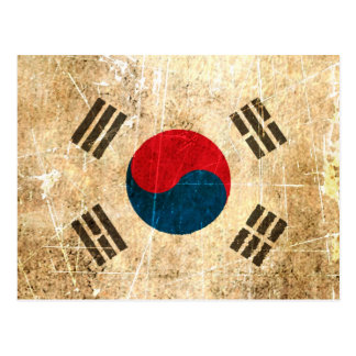 Scratched and Worn Vintage South Korean Flag Postcard