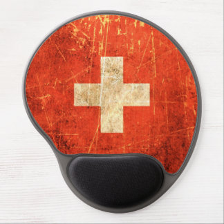 Scratched and Worn Vintage Swiss Flag Gel Mouse Pad