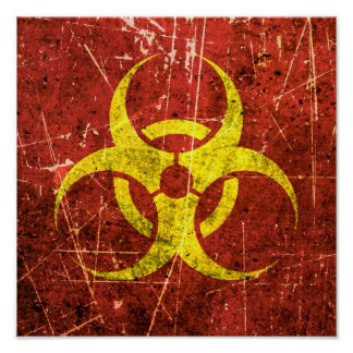 Scratched and Worn Yellow and Red Biohazard Symbol Print