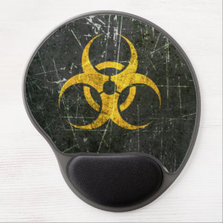 Scratched and Worn Yellow Biohazard Symbol Gel Mouse Pad