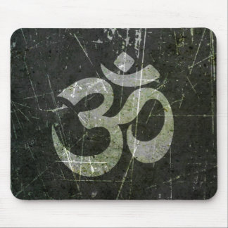 Scratched and Worn Yoga Om Symbol Mouse Pad