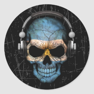 Scratched Argentine Dj Skull with Headphones Classic Round Sticker