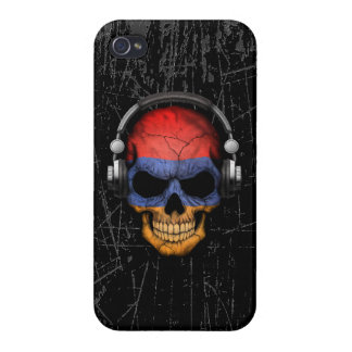 Scratched Armenian Dj Skull with Headphones iPhone 4 Case