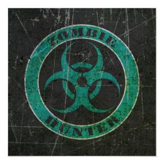 "Scratched Blue and Black Bio Hazard Zombie Hunter 5.25"" Square Invitation Card"