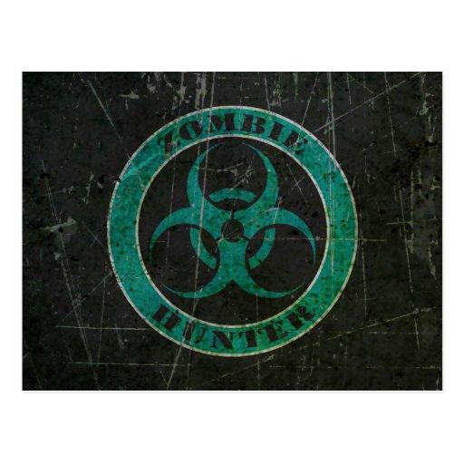 Scratched Blue and Black Bio Hazard Zombie Hunter Postcards