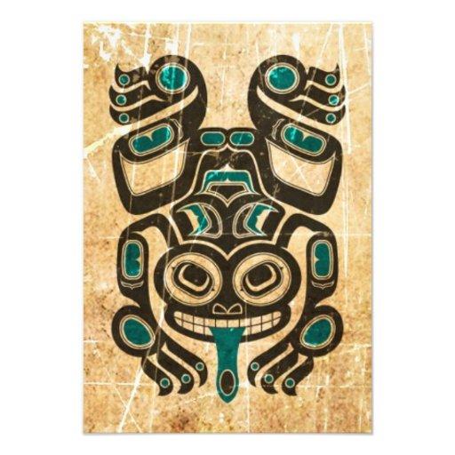 Scratched Blue and Black Haida Spirit Tree Frog Invitations