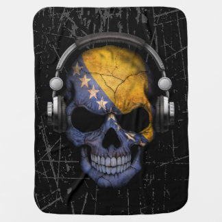 Scratched Bosnian Dj Skull with Headphones Baby Blanket