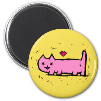 Scratched cat magnet