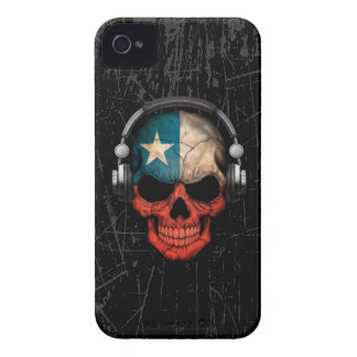 Scratched Chilean Dj Skull with Headphones iPhone 4 Cover