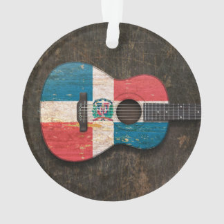 Scratched Dominican Republic Flag Acoustic Guitar Ornament