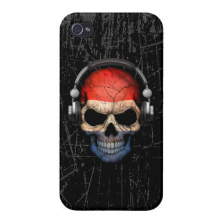 Scratched Dutch Dj Skull with Headphones iPhone 4 Covers