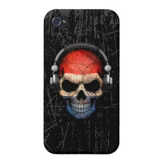 Scratched Dutch Dj Skull with Headphones iPhone 4 Case