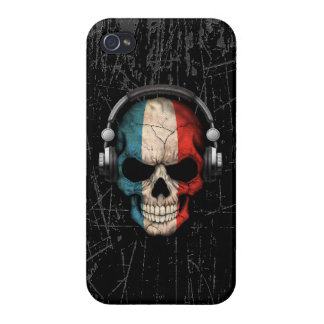 Scratched French Dj Skull with Headphones iPhone 4/4S Cover