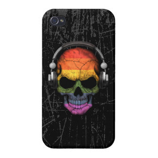 Scratched Gay Pride Rainbow Dj Skull Cover For iPhone 4