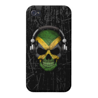 Scratched Jamaican Dj Skull with Headphones iPhone 4/4S Cover