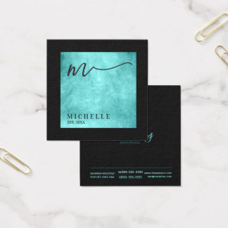 Scratched Metal Square Monogram Teal ID449 Square Business Card