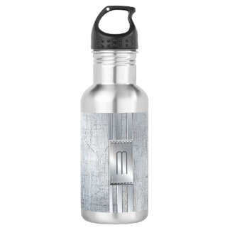 Scratched Metal Stripes Monogram Blue ID443 532 Ml Water Bottle