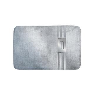 Scratched Metal Stripes Monogram Blue ID443 Bath Mat