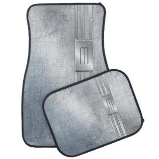 Scratched Metal Stripes Monogram Blue ID443 Car Mat