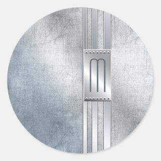 Scratched Metal Stripes Monogram Blue ID443 Classic Round Sticker