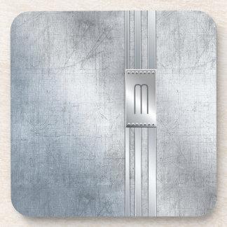 Scratched Metal Stripes Monogram Blue ID443 Coaster
